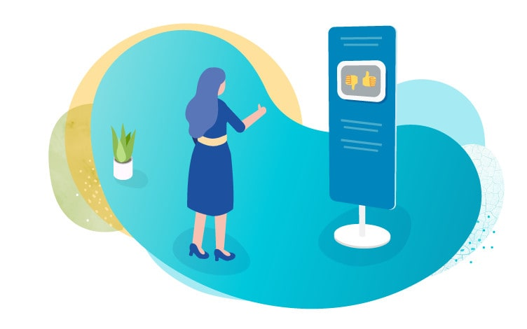 Illustration showing a lady holding her thumb up in front of a survey kiosk