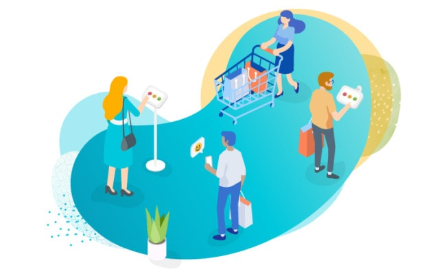 illustration presenting customers doing shopping and leaving their feedback
