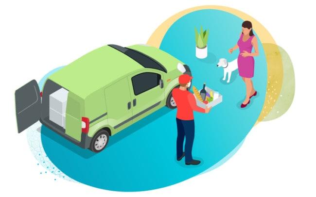 Illustration showing groceries being delivered