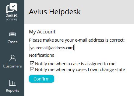 Optimus case notification helpdesk