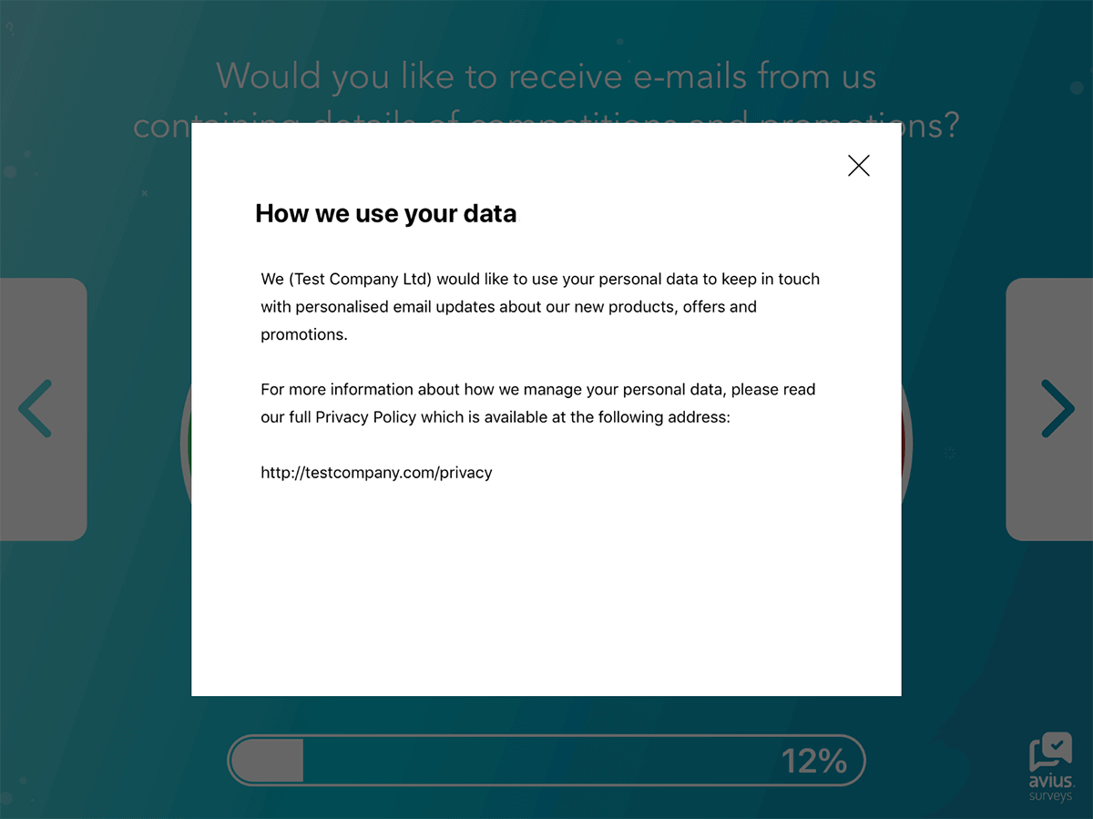 Example of a Privacy Notice within a survey