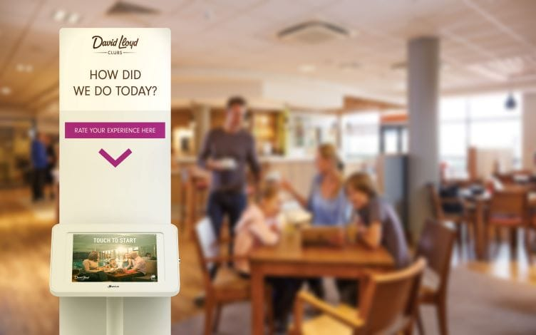 Survey kiosk at a David Lloyd cafe