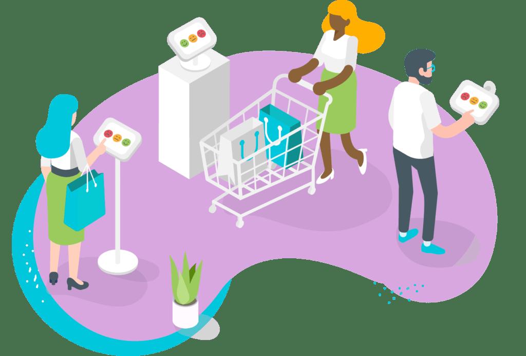 Customers using feedback kiosk