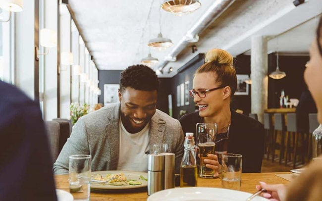 happy customers in a restaurant