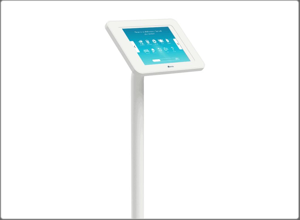 Floor-standing survey kiosk