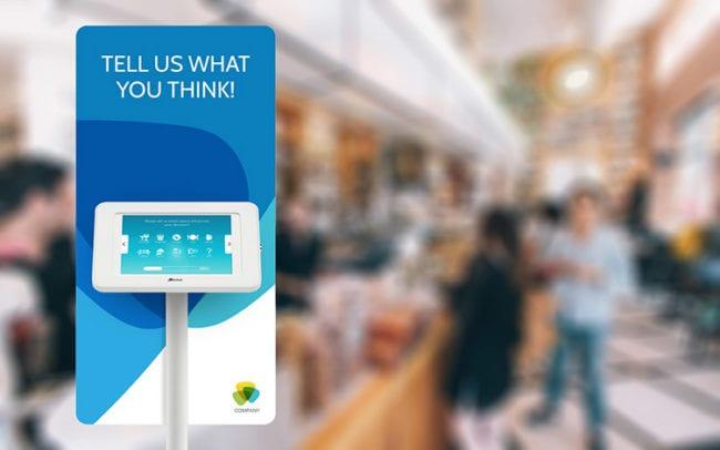 Survey kiosk with cafe background