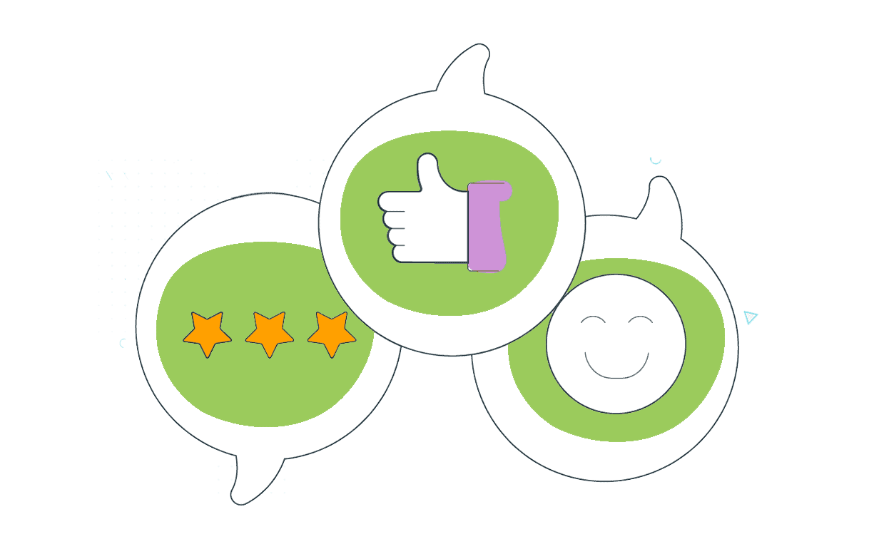Illustration showing positive survey results