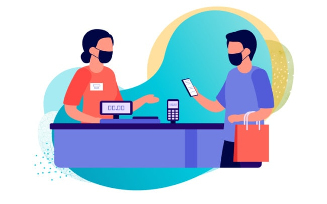 Illustration of a man wearing a mask paying for his shopping at the cash register