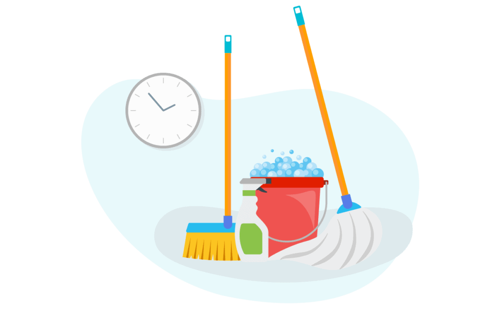 Illustration presenting cleaning supplies and a clock