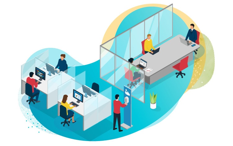 Illustration presenting socially-distanced workers in the office