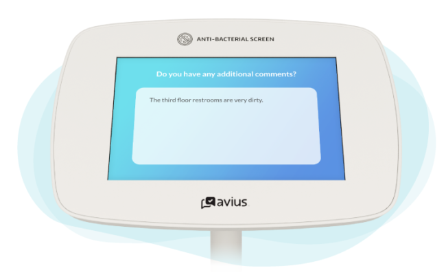 Example of an open-ended survey question on a kiosk head
